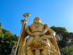 Golden Statue of the Batu caves at Kuala Lumpur in Malaysia