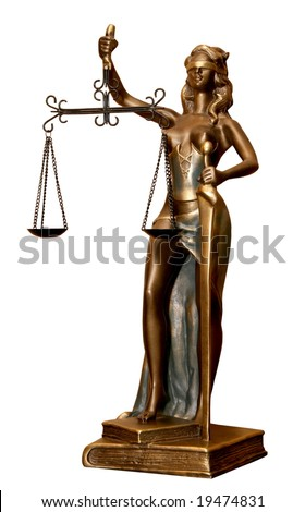 Golden statuette of justice goddess Themis or Femida with scales and sword