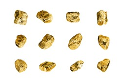 Golden stones set on white background isolated close up, gold nuggets collection, yellow metal rocks samples texture, gold mine, gold ore, group of shiny golden lumps, rough natural mineral gold chunk