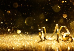 Golden Streamers With Sparkling Glitter - Christmas Holidays Background