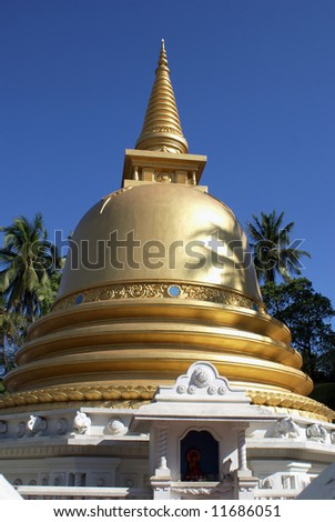 Golden stupa in Badulla, Sri Lanka - stock photo