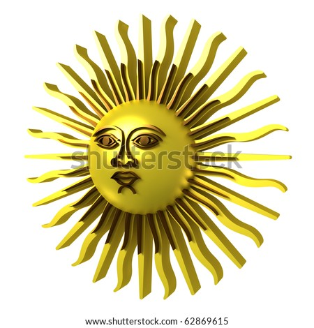 Golden sun, clipping path included. 3d illustration, isolated on white