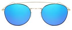 golden sunglasses  blue mirror lenses  isolated on white background