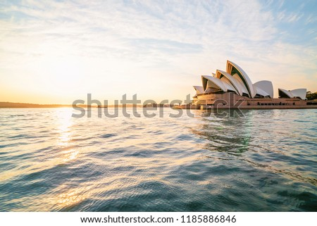 Golden sunrise at Sydney city skyline.