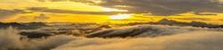 Golden sunrise,layer of hills,misty.Taken at Sabah Borneo