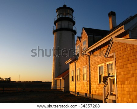 Golden sunrise light on the cape cod lighthouse