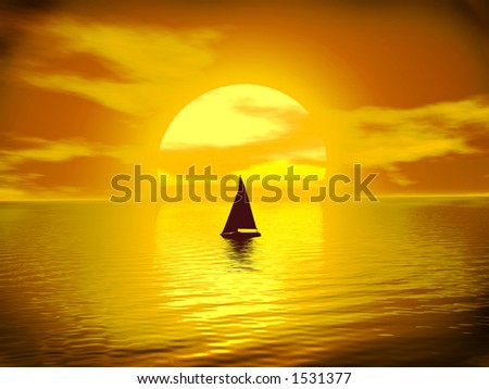 Golden Sunset in Gold with sailboat and Reflections on the Ocean