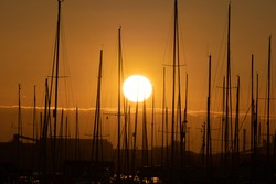 Golden sunset over marina with sailboat masts in silhouette.