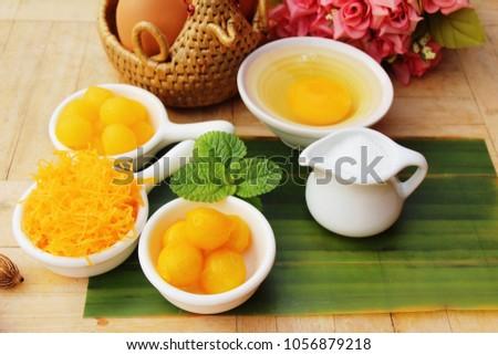 golden sweet is egg yolk  ,Thai dessert #1056879218