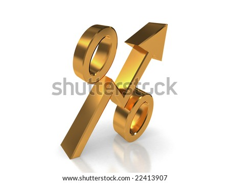Golden symbol of percentage in form of increasing  arrow