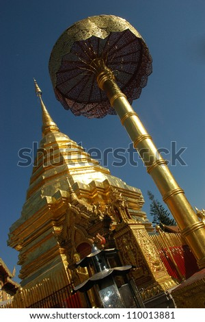 Golden temple near Chiang Mai, Thailand