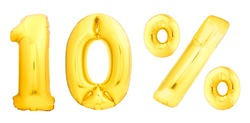 Golden ten percent made of inflatable balloons isolated on white background. One of full percent set