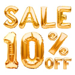 Golden ten percent sale sign made of inflatable balloons isolated on white. Helium balloons, gold foil numbers. Sale decoration, black friday, discount concept. 10 percent off, advertisement message.