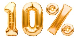 Golden ten percent sign made of inflatable balloons isolated on white. Helium balloons, gold foil numbers. Sale decoration, black friday, discount concept. 10 percent off, advertisement message.