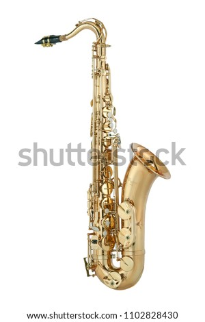 Golden tenor saxophone isolated on white background.