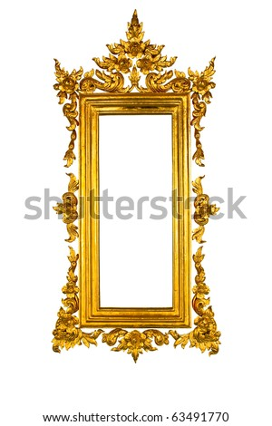 Golden Thai square style frame isolated on white background