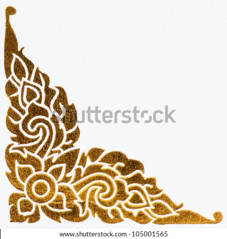 golden thai style pattern on wall, traditional art