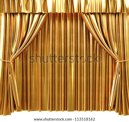 golden theatrical curtain. 3d image.