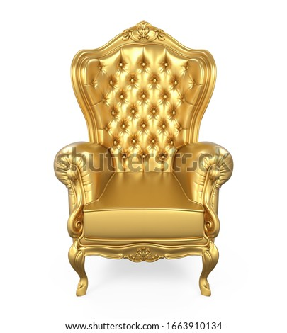 Golden Throne Chair Isolated. 3D rendering ストックフォト ©