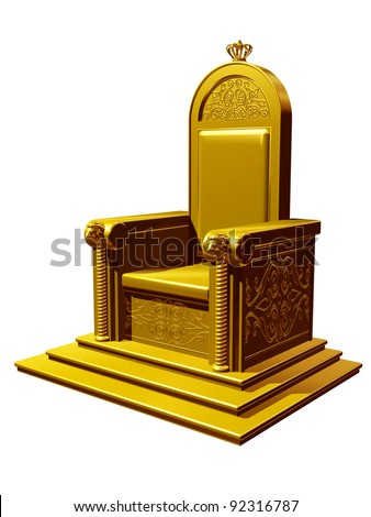 golden throne on stage with lions, crown and ornament