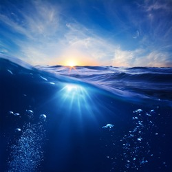 golden time of the sun and underwater