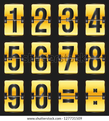 golden timetable numbers on black