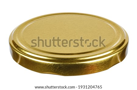 Golden tin screw lid for glass jar isolated on white background Foto stock ©