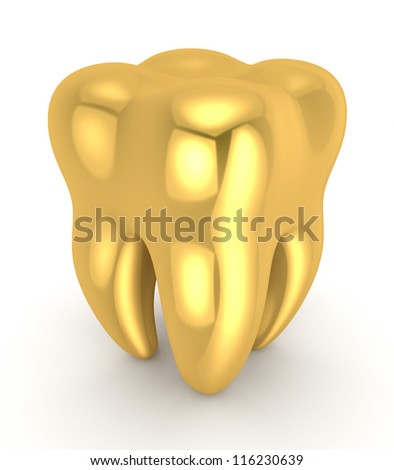 Golden tooth.Isolated on white background.3d rendered.