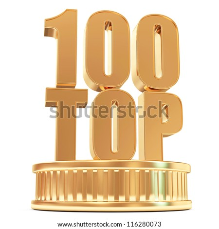 Golden Top 100 on a podium isolated on white background - stock photo