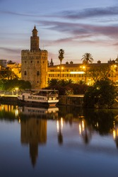 Golden Tower in Seville. Seville, Andalusia, Spain.