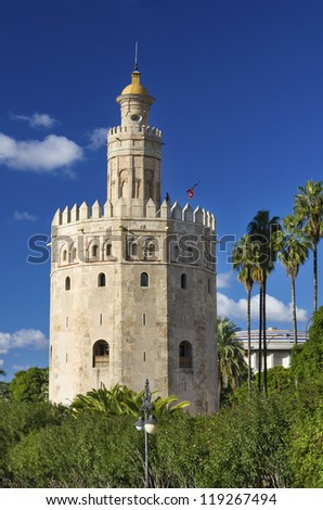 Golden Tower (Torre del Oro) near of Guadalquivir river,Sevilla.