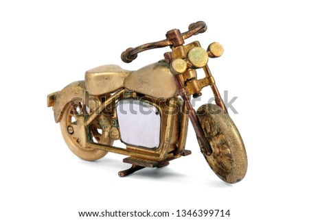 Golden toy old Motorcycle Bigbike isolated on white background. This has clipping path #1346399714