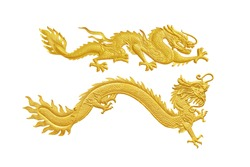 Golden traditional chinese dragon two stance style  background, Chinese golden dragon isolated on white , clipping path included