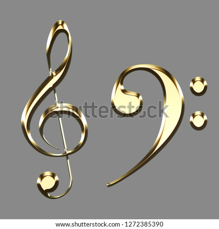golden treble clef and bass clef signs illustration on grey background - key sol - music symbols