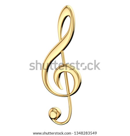 Golden treble clef 3D rendering illustration isolated on white background