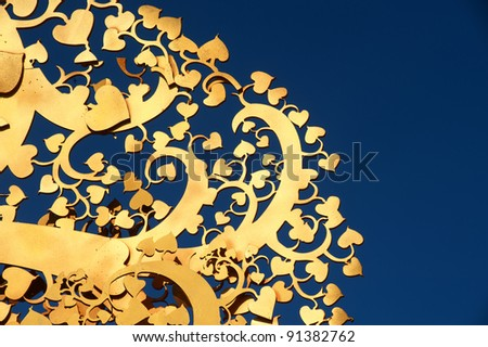 Golden tree wood of Thai art .