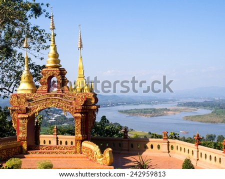 Golden triangle viewpoint is border of three countries, Thailand, Laos and Myanmar. #242959813