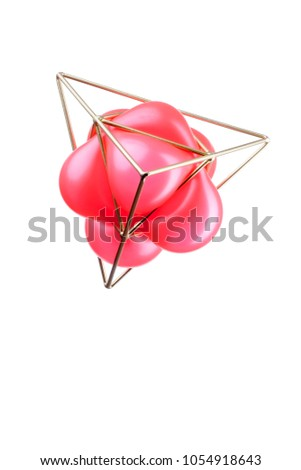 Golden triangular pyramid with a red balloon isolated on white background, Trigonometric representation of a volume
