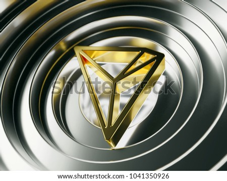 Golden TRON Crypto Currency Symbol on the Silver Metal Circles. 3D Illustration of Golden TRON Logo for News and Blog Posts.