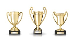 Golden trophies isolated on white background