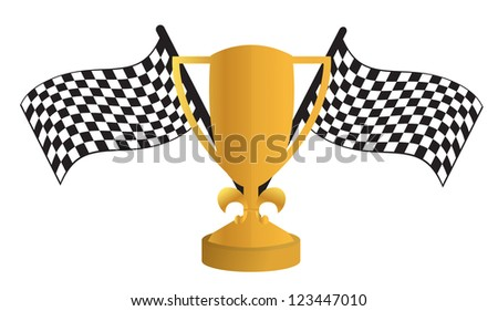 Golden Trophy and flags illustration design over white