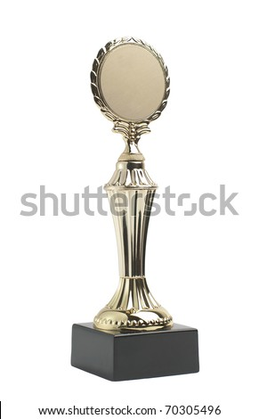 Golden trophy award with laurel wreath isolated on white background