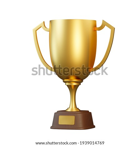 Golden trophy cup isolated on white background. Sport tournament award, gold winner cup and victory concept. 3d rendering illustration