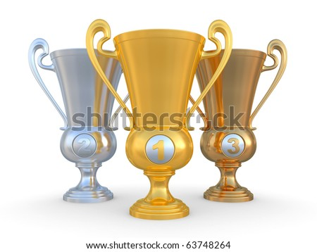 Golden trophy cup on white background. Isolated on a white 3D image