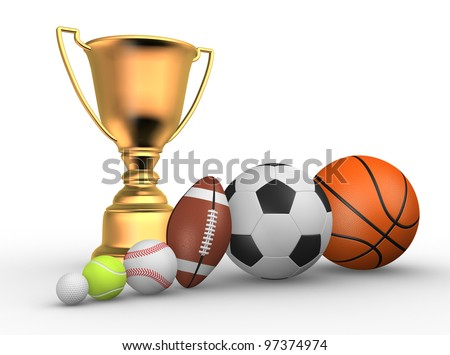 Golden trophy with a different balls ( football, baseball, basketball, rugby, tennis, golf ). 3d render