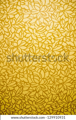 Golden tropical flora flower leaves background texture pattern with shade and gradient