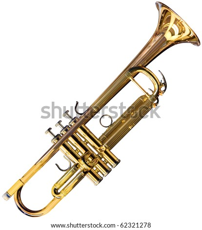 Golden trumpet isolated on white background with clipping path