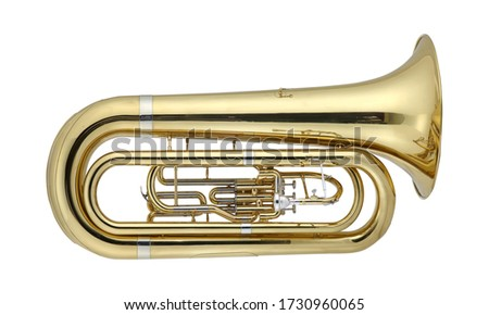 Golden Tuba, Brass Music Instrument Isolated on White background 3D rendering Сток-фото ©