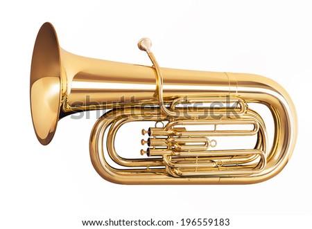 Golden tuba isolated on white background Сток-фото ©