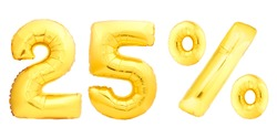 Golden twenty five 25 percent made of inflatable balloons isolated on white background. One of full percentage set